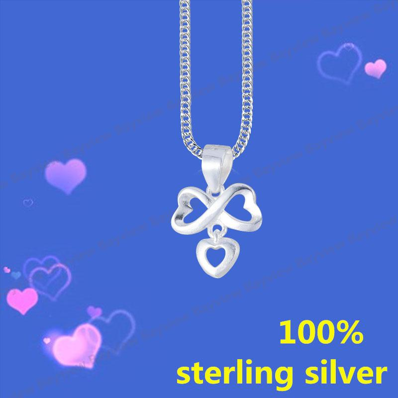Italy 925 sterling silver white gold eternal lover exquisite pendant  necklace silver necklace ladies 925 sterling silver pendant necklace  Swarovski
