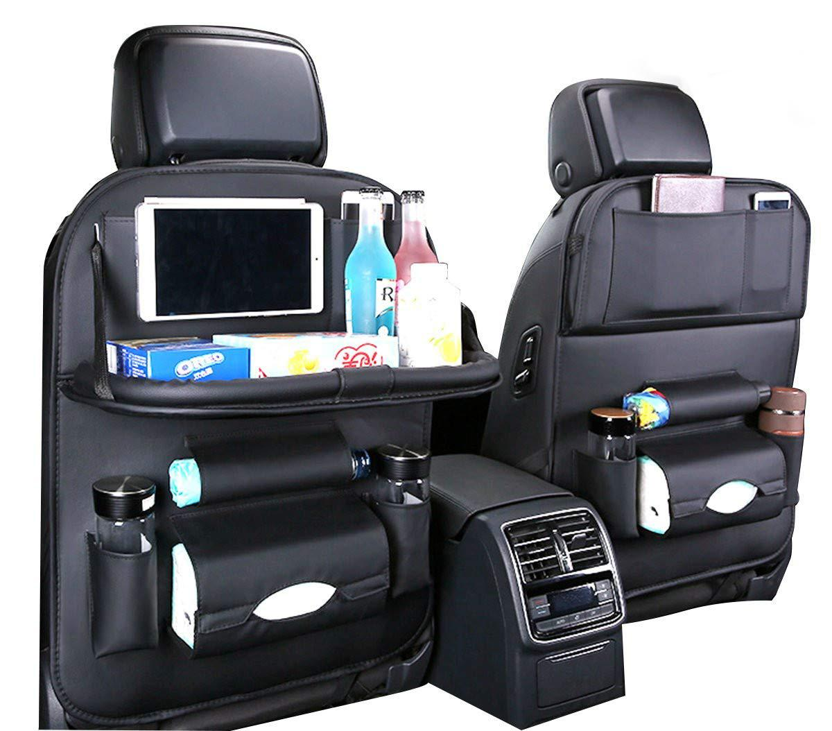 with tablet stand rear seat suitable for children baby adult car seat cover multi-pocket car back seat storage bag kick pad foldable table Car seat back multi-function storage bag 1 piece black