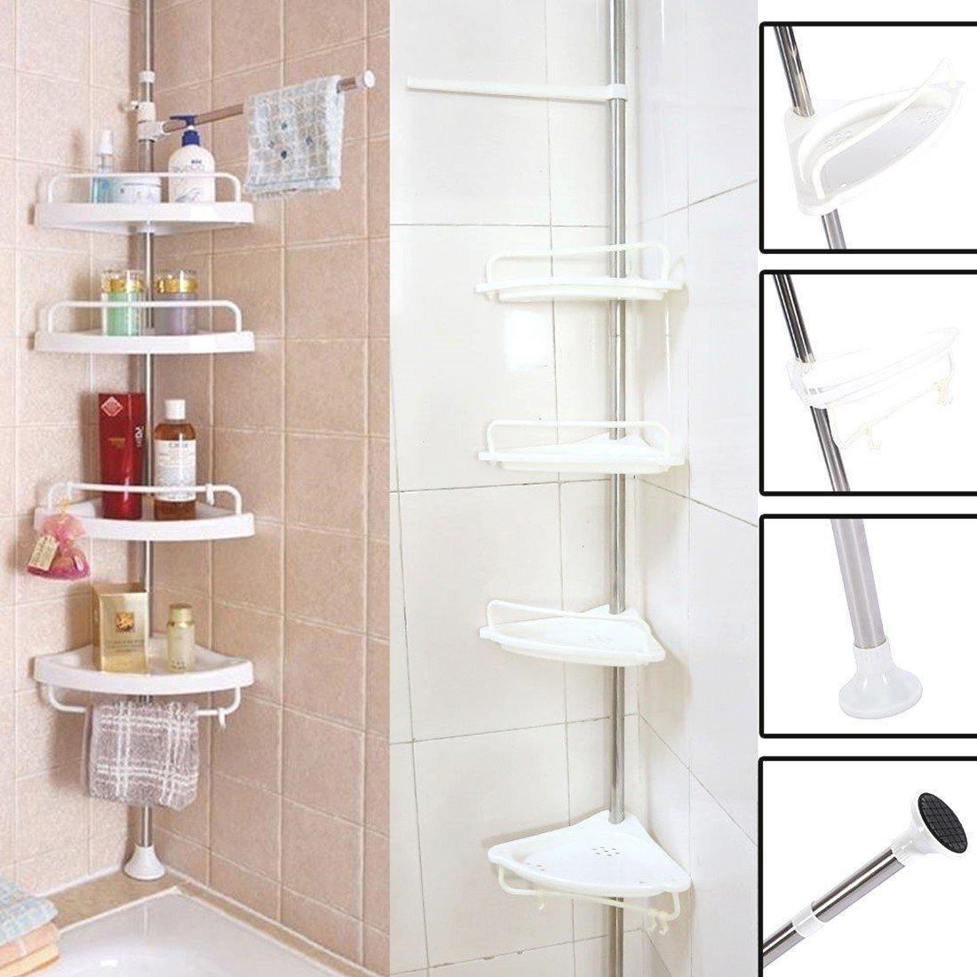 Zover 4 Tier Bathroom Corner Shelf Adjustable Telescopic Shower Shelf Shower Corner Rack White