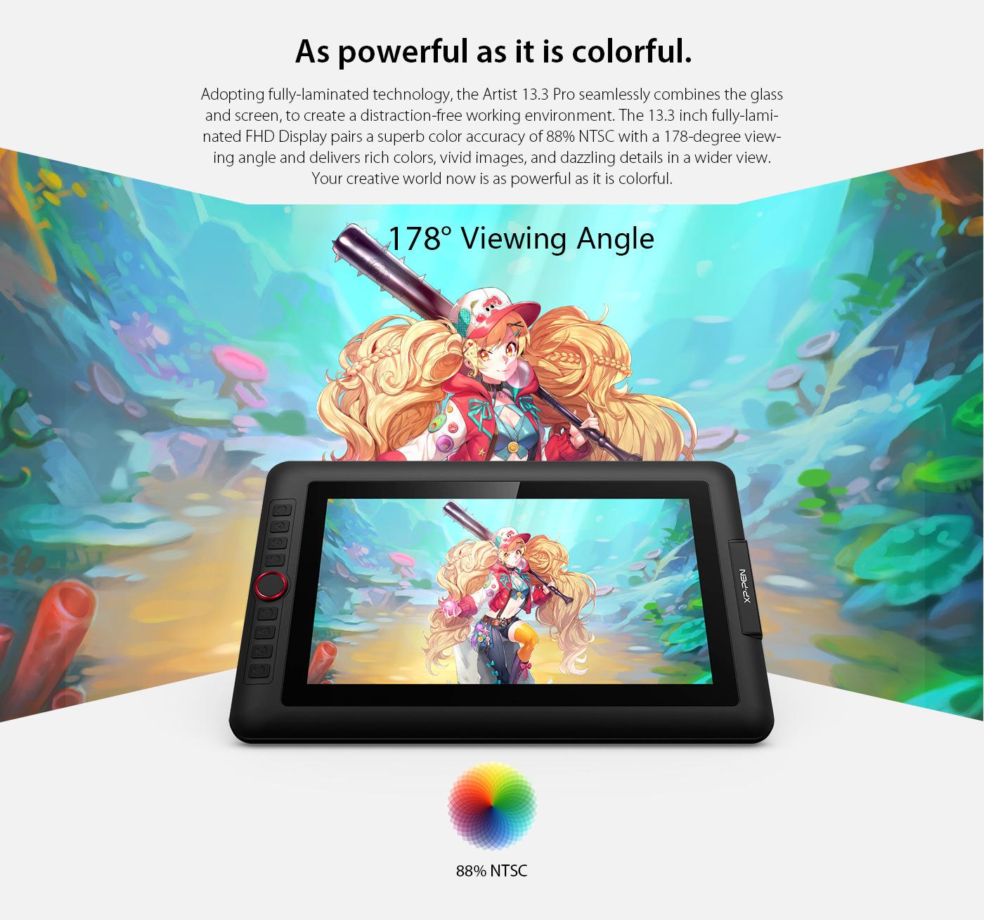 XP-PEN Artist13 3 Pro 13 3 Inch IPS Drawing Monitor Pen Display  Full-Laminated Graphics Drawing Monitor with Tilt Function and 8 Shortcut  Keys (8192