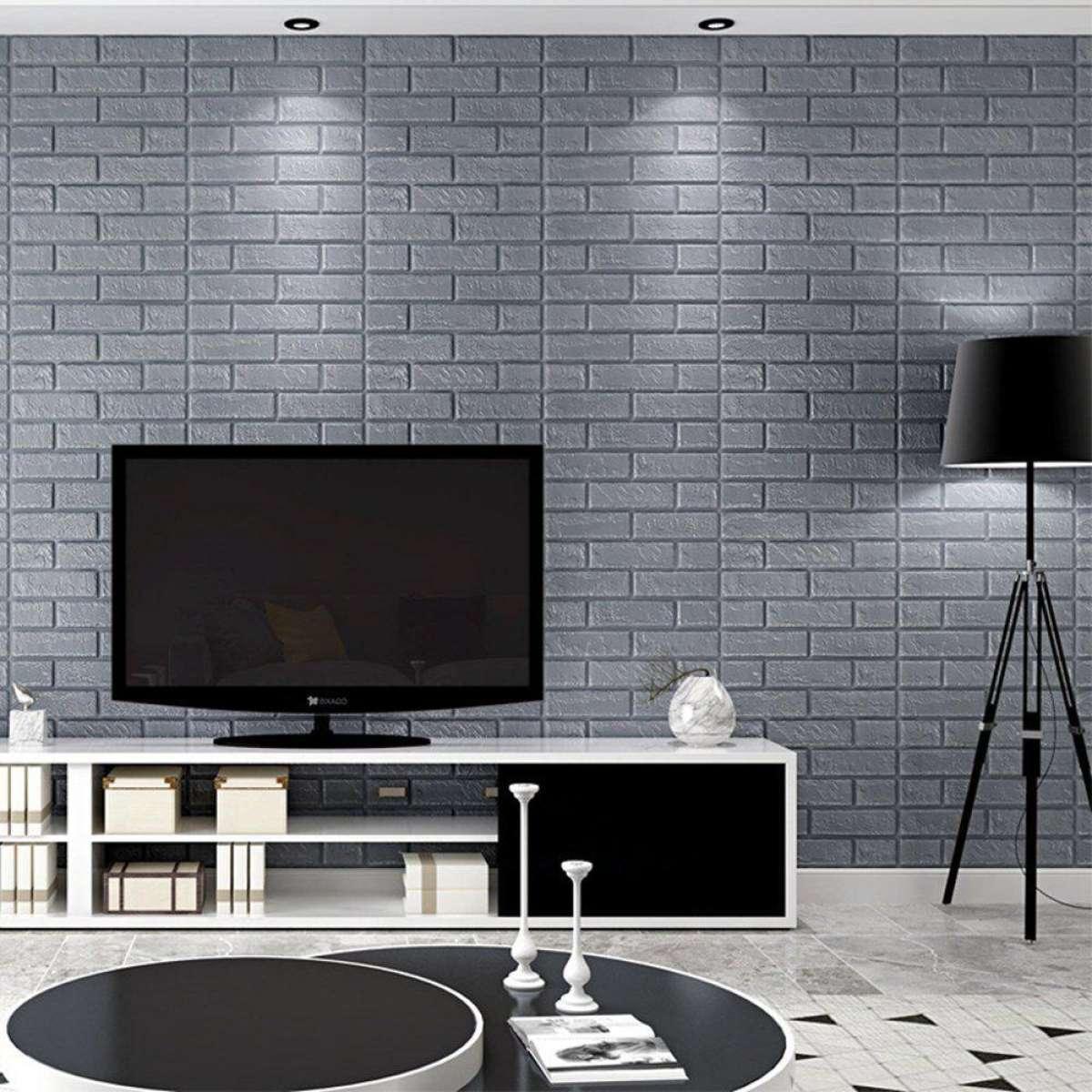 Sk Wallpaper Pe Foam 3d Gray Stone Brick Panel Wall Sticker 70 70cm Home Decor Living Room Wallpaper For Kids Rooms Self Adhesive Diy Art Mural H18