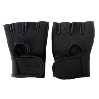 1Pair Unisex Half Finger Short Gloves Non-slip Breathable Ultraviolet Protection Sports Fingerless Mittens for Middle School Kids Outdoor Gym Workout Training Cycling Riding Biking Size M Black - intl