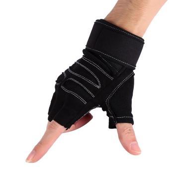 2 Pcs Weight Lifting Gym Training Fitness Gloves(Black/M) - intl - 4