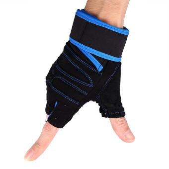 2 Pcs Weight Lifting Gym Training Fitness Gloves(Blue/XL) - intl