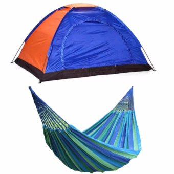 2-Person Dome Camping Tent (Colors may Vary) with Portable CottonRope Outdoor Hammock (Blue)