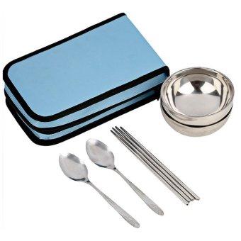 2015 Travel Portable Folding Cutlery Sets Picnic Lunch Bowl Fork Spoon Chopstick Sky Blue