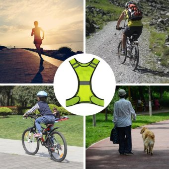 3 LED Lights Cycling Vest Outdoor Sports Running Reflective SafetyVest Gear High Visibility For Exercise Jogging Polyester (Yellow) -intl - 2