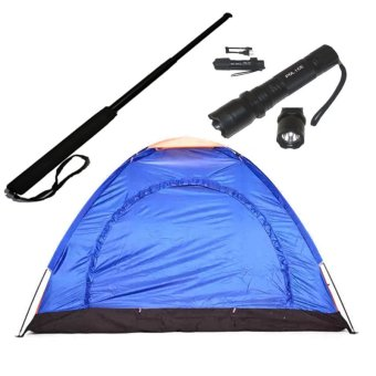 3 Person Dome Camping Tent (multicolor) with Police Stungun withExpandable Baton
