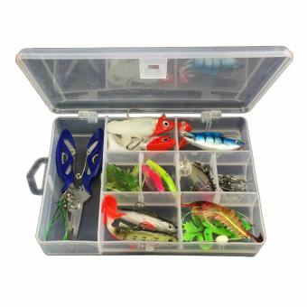 34Pcs / Set Fishing Lure Kits Mixed Universal Assorted Fishing LureSet with Fishing Tackle Box - Including Spinners, VIB, TrebleHooks, Single Hooks, Swivels, Pliers, Leaders, etc for FreshwaterSaltwater Fishing - intl