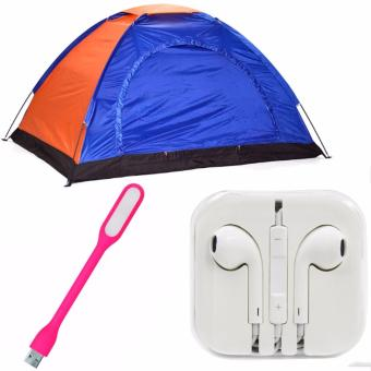4-Person Dome Camping Tent Bundle With LED Light(Color May Vary)And Headset (white)
