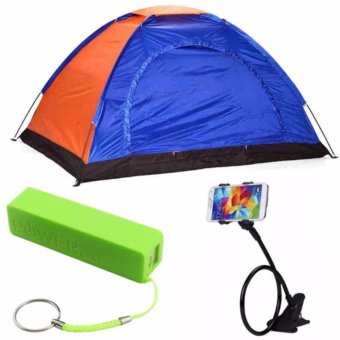 4-Person Dome Camping Tent with 2600mAH Power Bank (color mayvary)and Lazypod (color may vary)