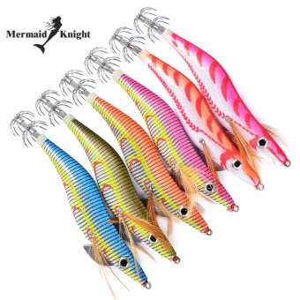 6pc MermaidKnight Fishing Lure Squid Jigs Exported to Usa MarketFishing Tackle 6 color 26.5g/13.5cm Fishing Bait 3.5# Hook - intl