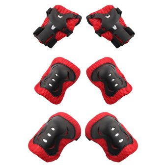 7Pcs / set of children's protective equipment skating bike head knee elbow pads (Black) - intl - 3