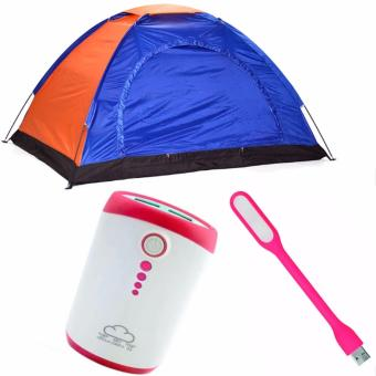 8-Person Dome Camping Tent (Multicolor)With PowerBank (AssortedColor and Design)And LED Light (Color May Vary)