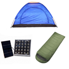 8-Person Dome Camping Tent with Solar LED Lamp and Outdoor Sleeping Bag Bundle