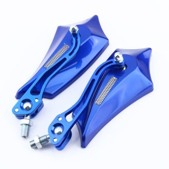 8mm 10mm Universal Motorcycle Motor Scooter Bike Rear View Side Mirrors(Blue) - 4
