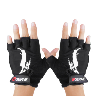 A pair Inline Skates Roller Skating Cycling Half Finger Gloves Protective Gear Black Size XL