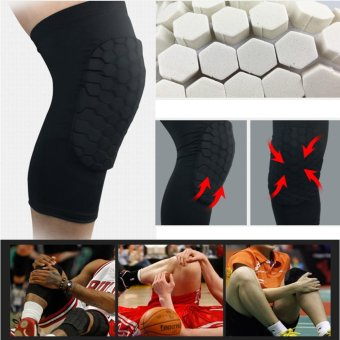 A Pair Professional Compression Crashproof Antislip Knee Shin Sleeves Sports Basketball Kneepads Honeycomb Knee Pads Leg Brace Sleeve Protective Pad Support Guard Protector Gear ,Short L - intl - 2