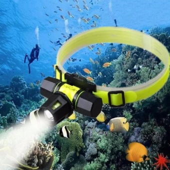 A1 New Headlamp Underwater head lamp light Diving headlight Swimming flashlight Waterpoof head lantern For CREE XML T6(Yellow) - intl