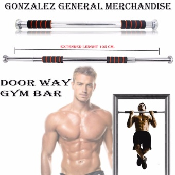 Adjustable Door Way Pull Up Gym Bar (Black/Orange)
