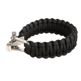 Adjustable Parachute Cord 7-Strand Rope Bracelet Outdoor Survival Black - picture 2
