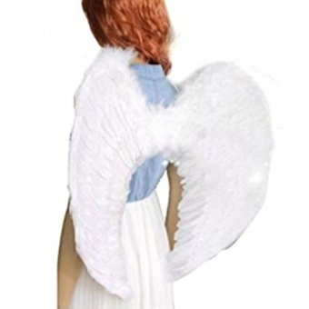Adult masquerade party supplies white feather angel wings - intl