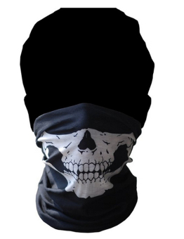 Amango Skull Bandana Face Mask for Motorcycle (Black)