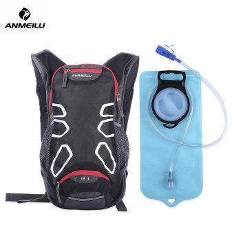 ANMEILU 15L Unisex Cycling Hiking Climbing Bicycle Pack Backpackwith Rain Helmet Cover (WITH WATER BAG) (Black) - intl Price Philippines