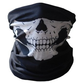 Black Seamless Skull Face Tube Mask