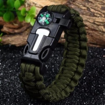 BUGZ Sport: 5 in 1 Outdoor Survival Paracord Bracelet: Flint FireStarter, Scraper-Knife, Compass, Whistle, Paracord Rope - intl