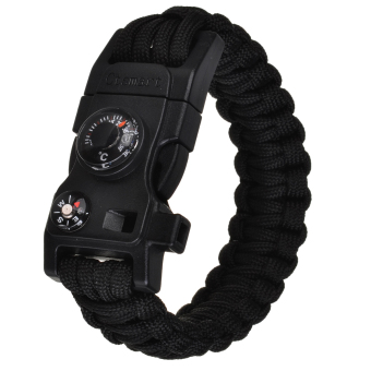 CTSmart Outdoor Multifunctional Survival Paracord Bracelet - Black- intl