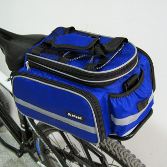 Cycling Bike Bicycle Rear Rack Seat Pannier Bag Waterproof + RainCover(Blue)