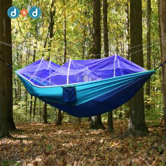 D&D SYY002 Double-person Hammock Hanging Bed Portable HighStrength Fabric Hammock With Mosquito Net For Outdoor CampingTravel(Blue) - 2