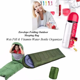 Envelope Folding Outdoor Sleeping Bag (Green) with Pill &Vitamin Water Bottle Organizer (Red)