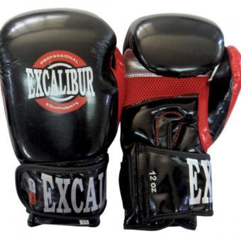 Excalibur Pu Premium Gloves Pindot Black/Red/Silver 16oz. - 2