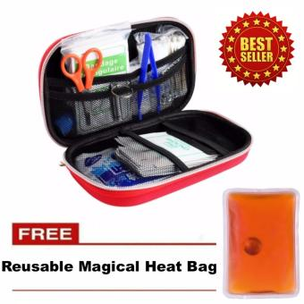 First Aid Kit Bag Emergency Medical Survival Rescue Box with FREEReusable Magical Heat Bag