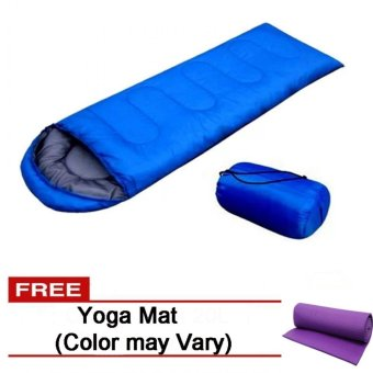Folding Outdoor Sleeping Bag (Blue) Free Yoga Mat (Color May Vary)