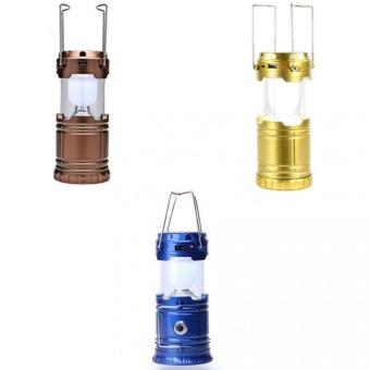 G-85 6 LED Solar Camping Lamp Rechargeable Lantern Set of 3(Brown&Gold&Blue)