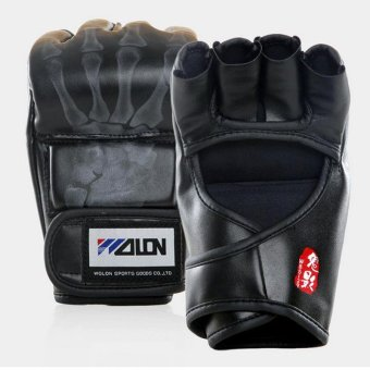 Gants de boxe Gloves Half-finger Sandbag Fighting Boxing Gloves (Black) - intl