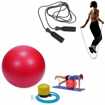 Gym Ball (Red) with Exercise Tool Boxing Skipping Jump Rope Adjustable Bearing Speed Fitness (Black)
