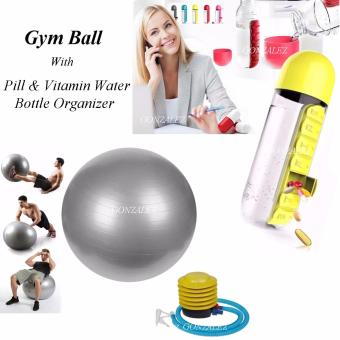Gym Ball (Silver) with Pill & Vitamin Water Bottle Organizer(Yellow)