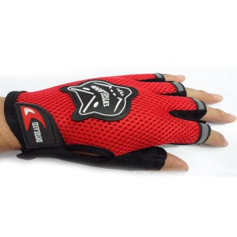 HKS Unisex Outdoor Cycling Bike Riding Mountain Climbing Half Finger Mesh Gloves (Red) - Intl - picture 2