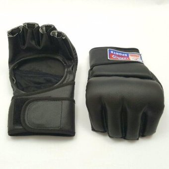 MMA UFC Sparring Grappling Boxing Fight Punch Leather Gloves USA Sports #023- Open Type Black Price Philippines