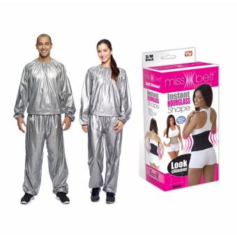 Harga G@Best Unisex Sauna Suit With Miss Belt Instant Hourglass Body Shaper (Medium)