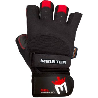 Meister Wrist Wrap Weight Lifting Gloves w/ Gel Padding - black/red- Large Price Philippines