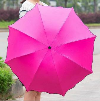 Magic Umbrella for Sunny and Rainy Appear Flowers When Meet Water (Rose Red) - intl Price Philippines