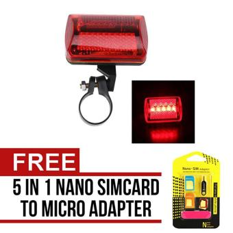 Harga Verygood 5LED Flashing Red Rear Light Cycling Bicycle Bike Taillight Safety 7Modes with free Nano SIM Adapter Nano to Micro SIM Micro SIM to Standard SIM Card Adapter 5 IN 1 Tools Kit
