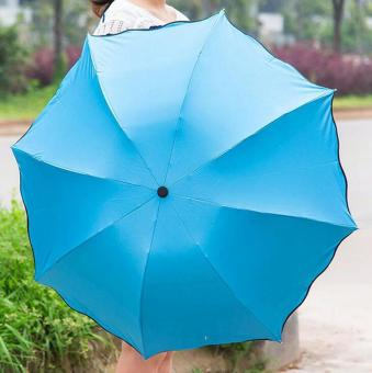 Magic Umbrella for Sunny and Rainy Appear Flowers When Meet Water (Blue) - intl Price Philippines