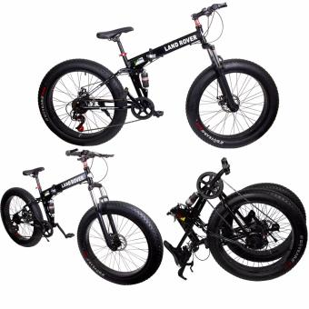 Harga B.I.T. Land Rover LIMITED EDITION 26x4 All Terrain Lightweight Aluminum Foldable Mountain Trail FAT Bike with Dual Shock Suspension (Black)