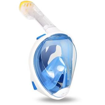 Harga 180° View Snorkel Mask Full Face Design Snorkeling - anti-fog and anti-leak Technology-blue